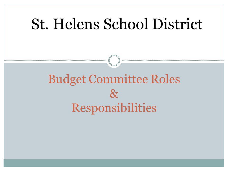 Budget Committee Roles & Responsibilities