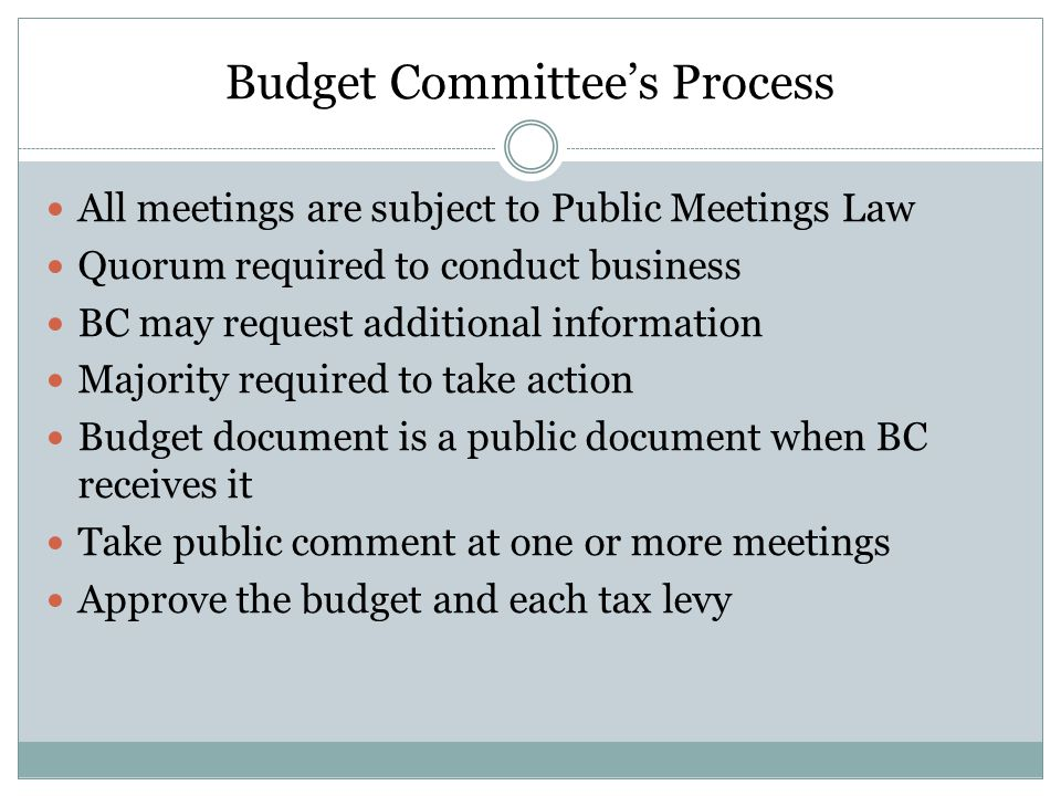 Budget Committee's Process