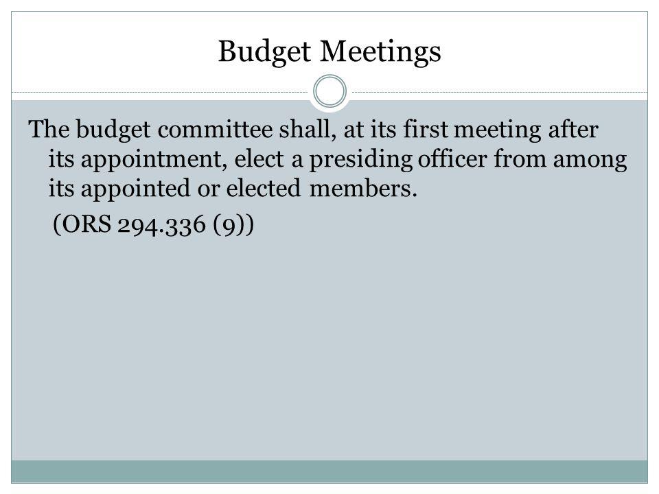 Budget Meetings