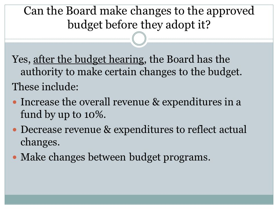 Can the Board make changes to the approved budget before they adopt it