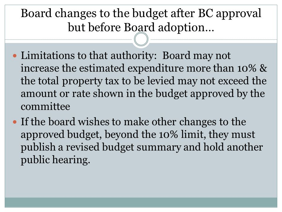 Board changes to the budget after BC approval but before Board adoption…