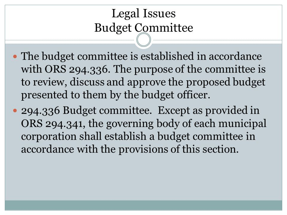 Legal Issues Budget Committee