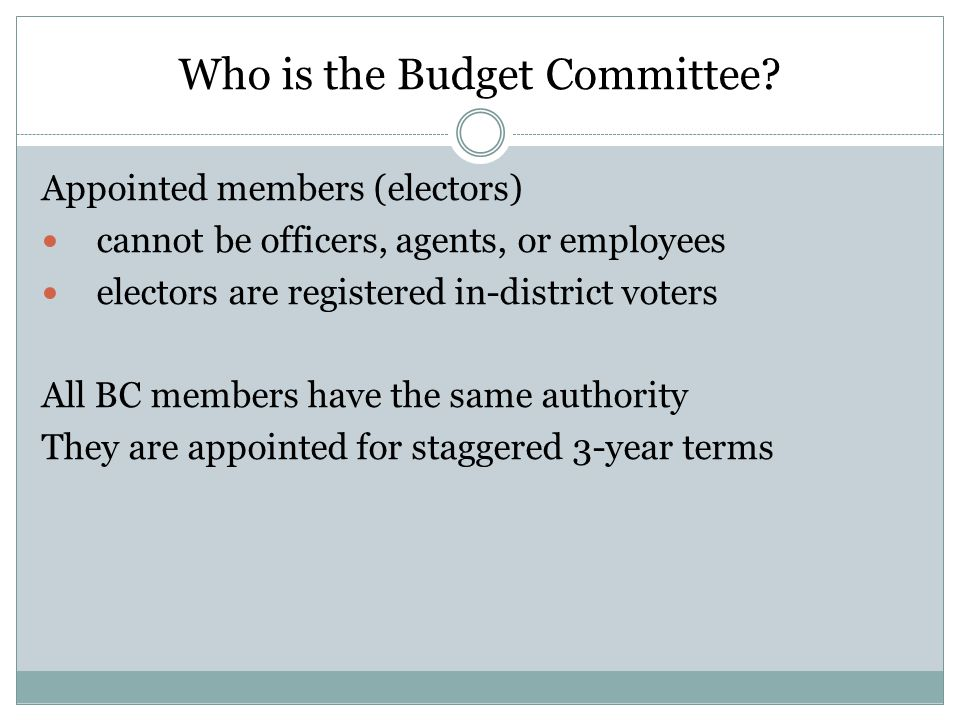 Who is the Budget Committee