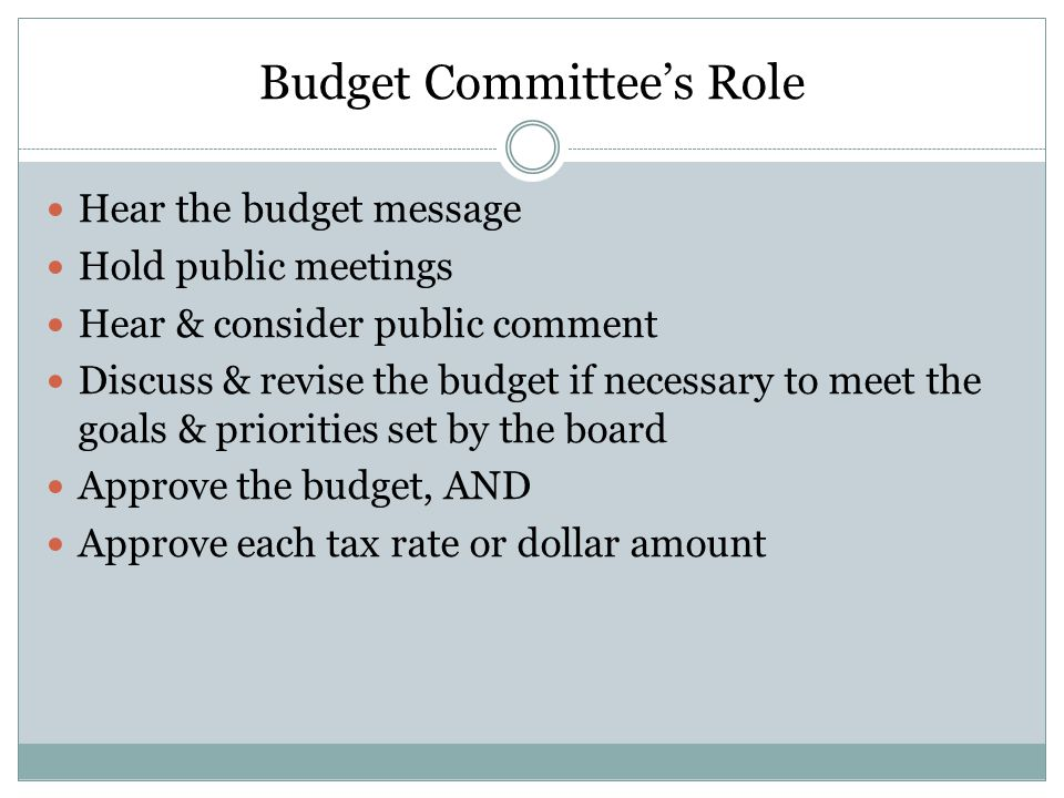 Budget Committee's Role