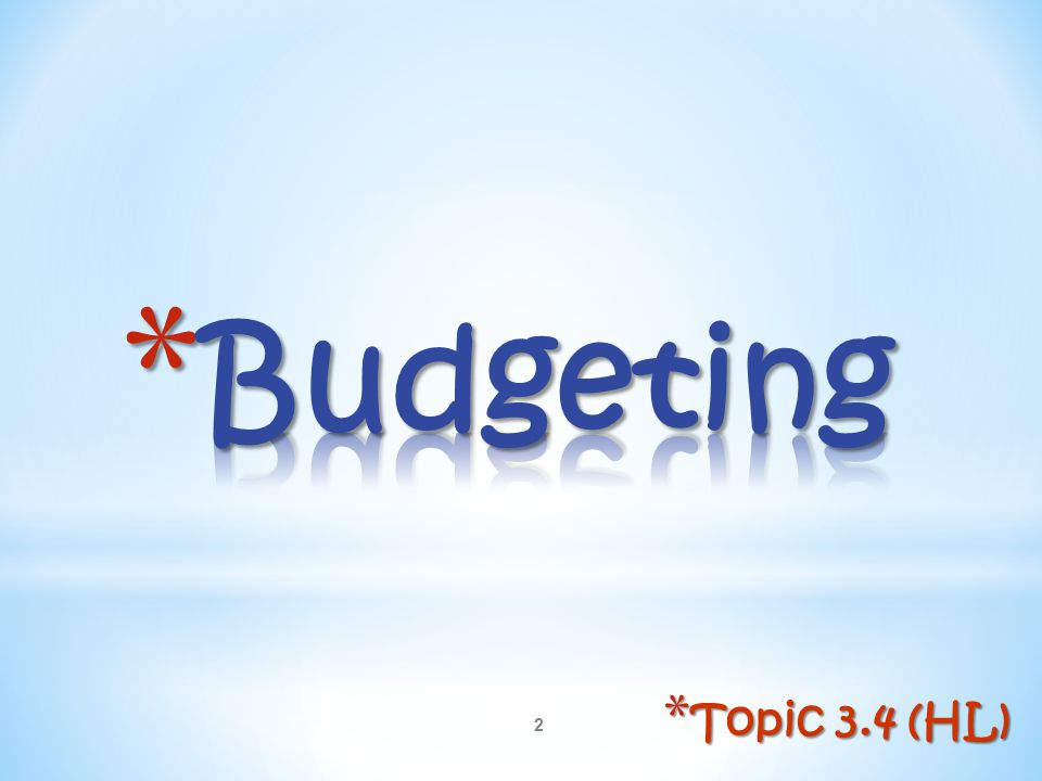 Budgeting Topic 3.4 (HL)