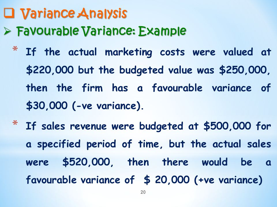 Variance Analysis Favourable Variance: Example