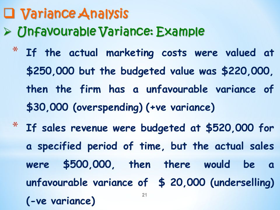 Variance Analysis Unfavourable Variance: Example