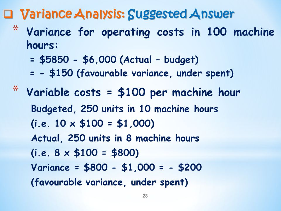 Variance Analysis: Suggested Answer