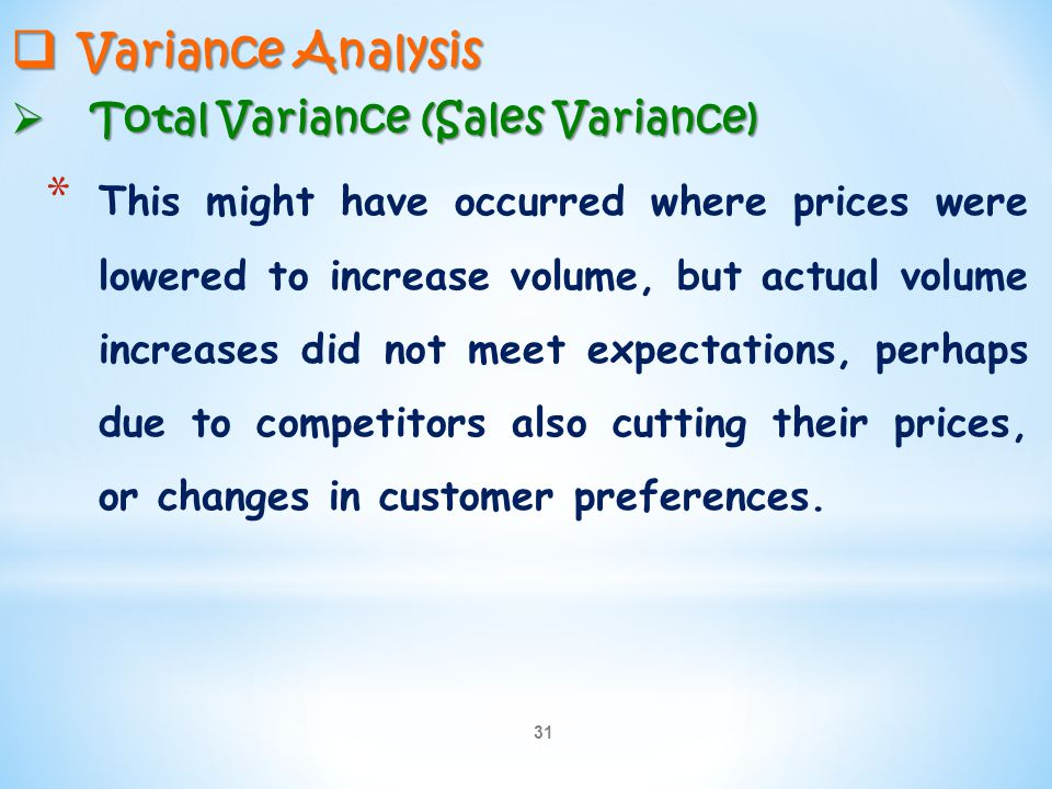 Variance Analysis Total Variance (Sales Variance)