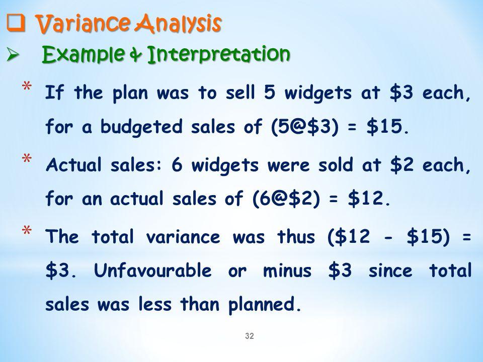 Variance Analysis Example & Interpretation