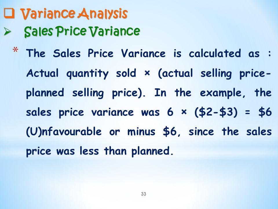 Variance Analysis Sales Price Variance