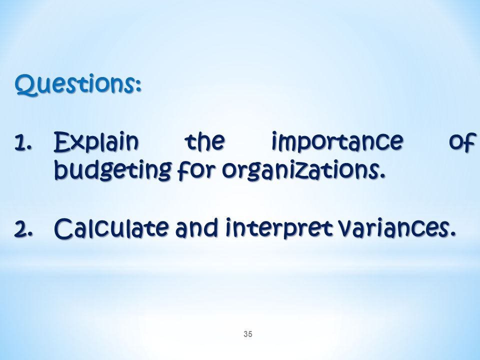 Questions: Explain the importance of budgeting for organizations.