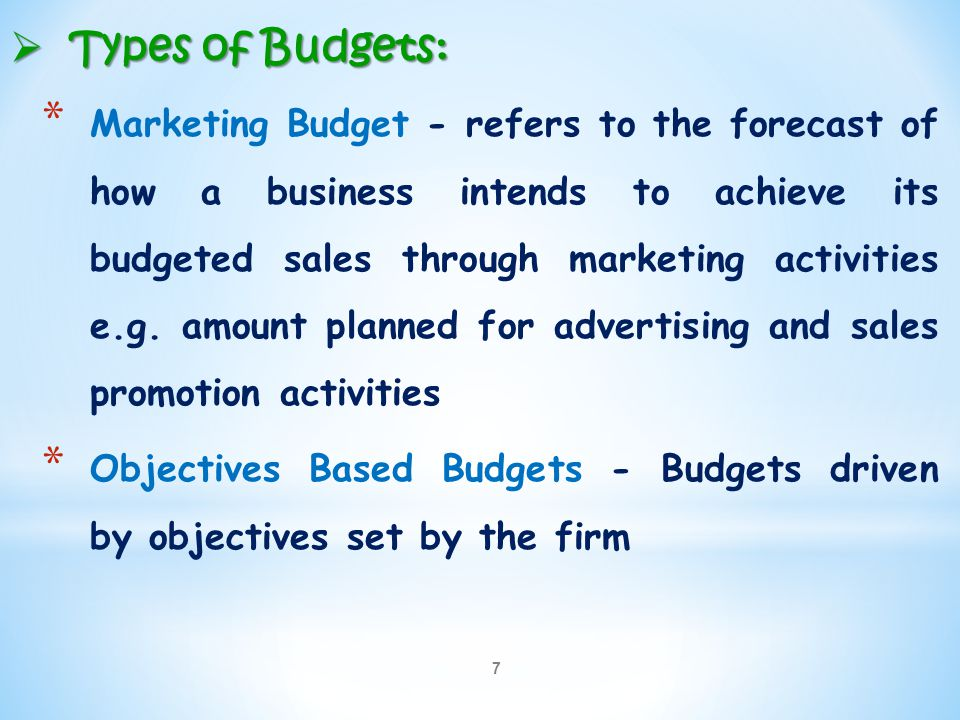 Types of Budgets: