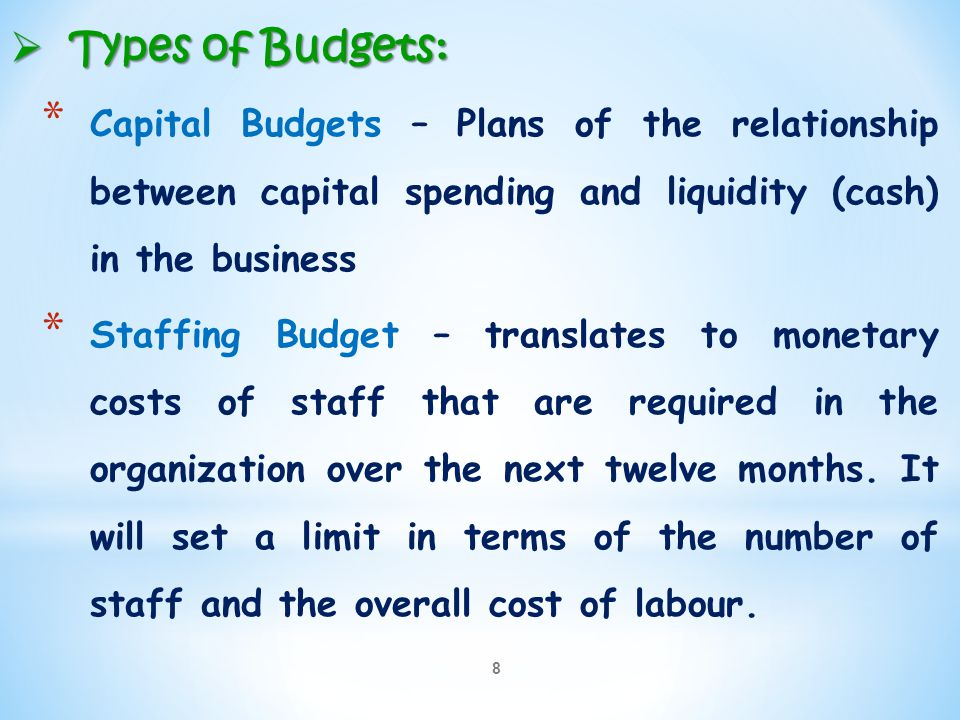 Types of Budgets: Capital Budgets – Plans of the relationship between capital spending and liquidity (cash) in the business.