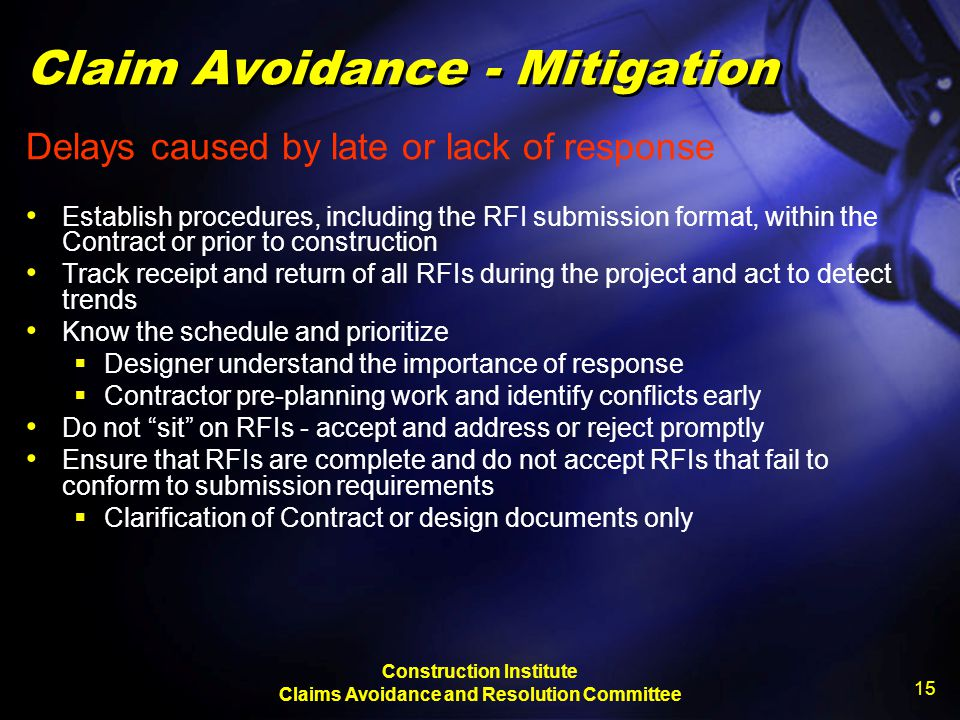 Claim Avoidance - Mitigation
