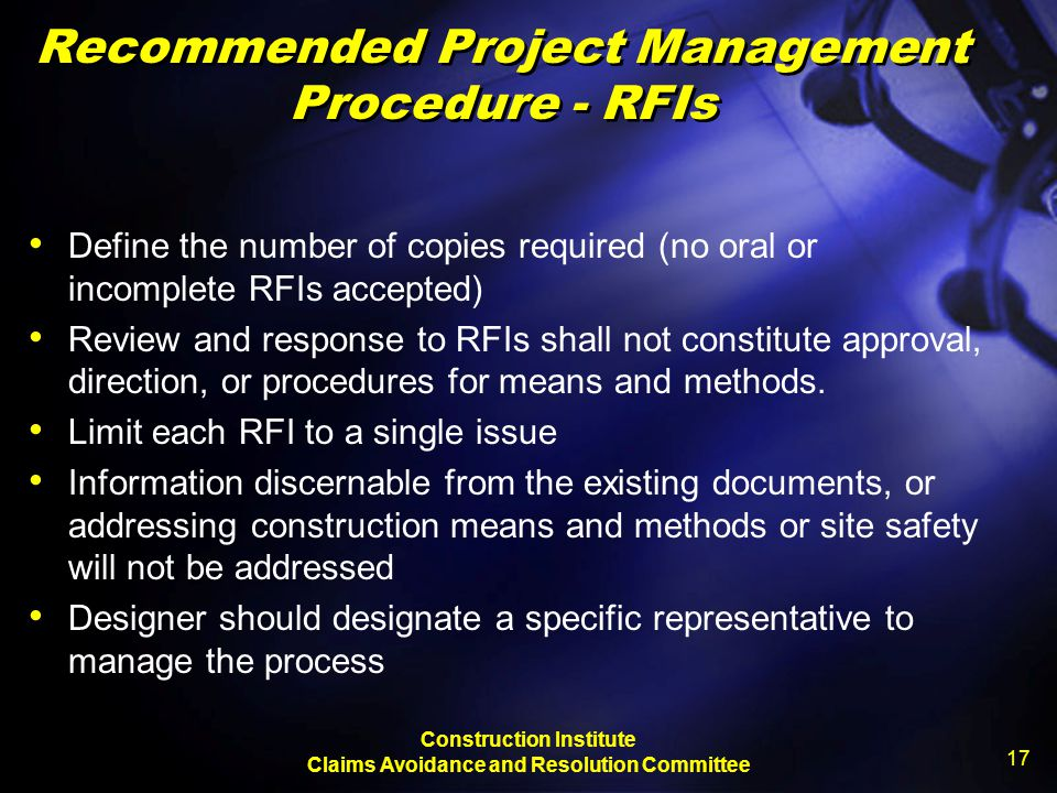 Recommended Project Management Procedure - RFIs