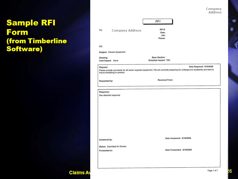 Sample RFI Form (from Timberline Software)
