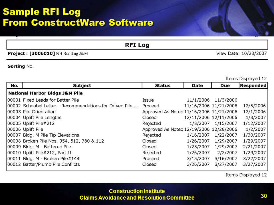 Sample RFI Log From ConstructWare Software