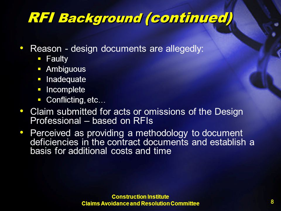 RFI Background (continued)