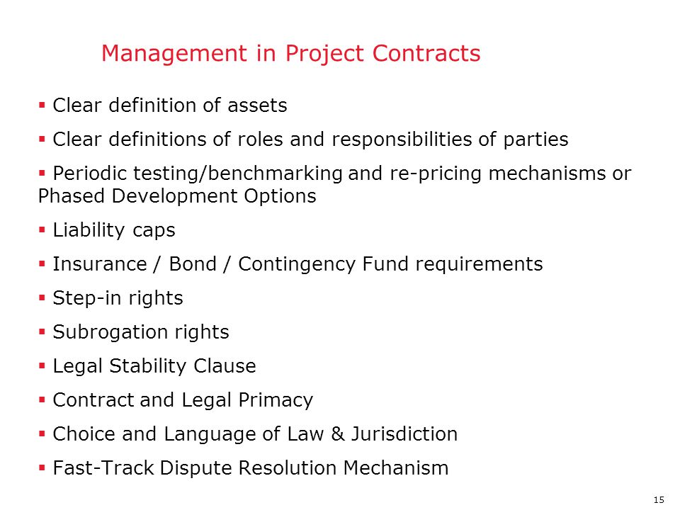 Risk Management in Project Contracts