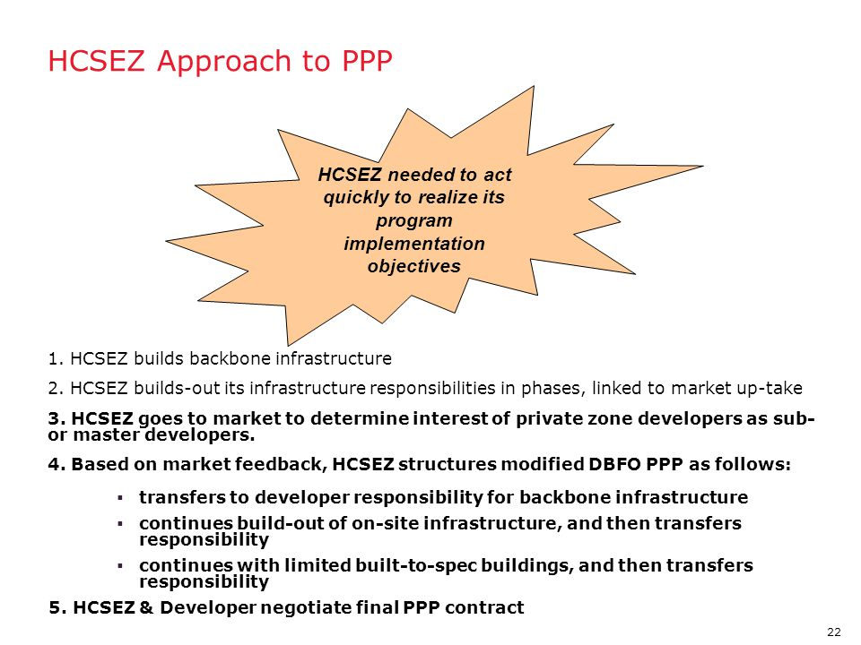 HCSEZ Approach to PPP HCSEZ needed to act quickly to realize its program implementation objectives.