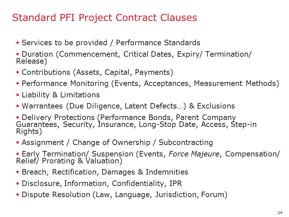 Standard PFI Project Contract Clauses