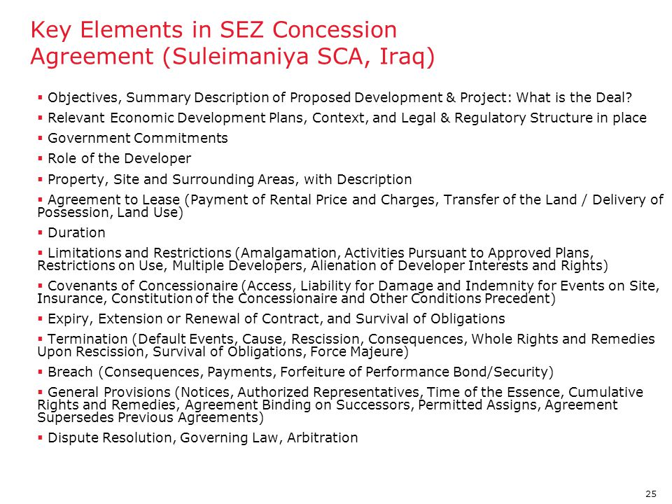 Key Elements in SEZ Concession Agreement (Suleimaniya SCA, Iraq)