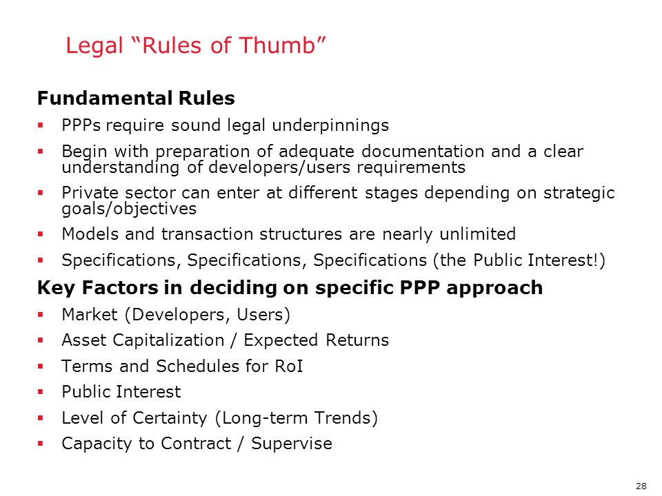 PPP Legal Rules of Thumb