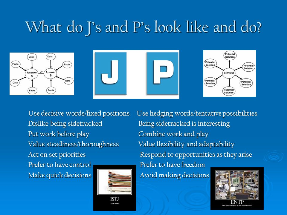 What do J's and P's look like and do