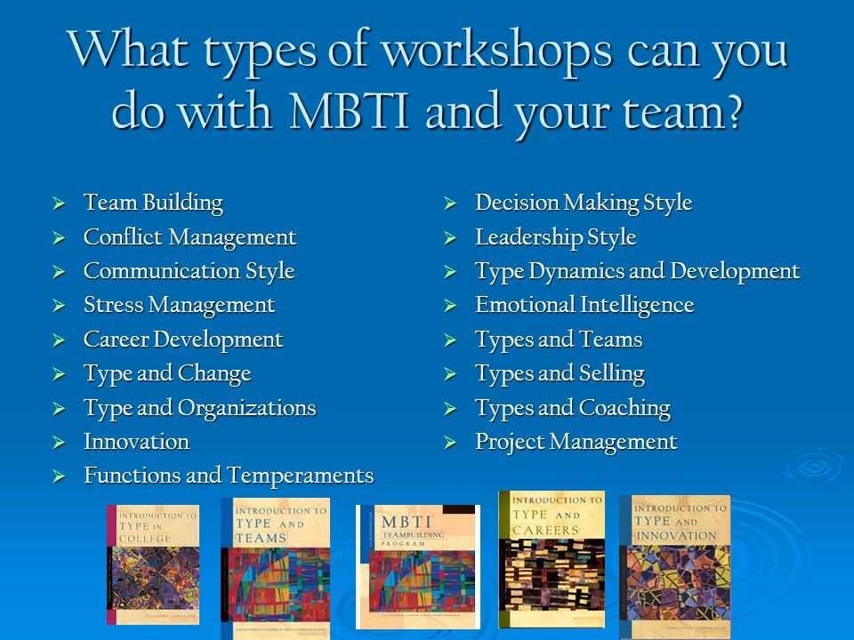 What types of workshops can you do with MBTI and your team