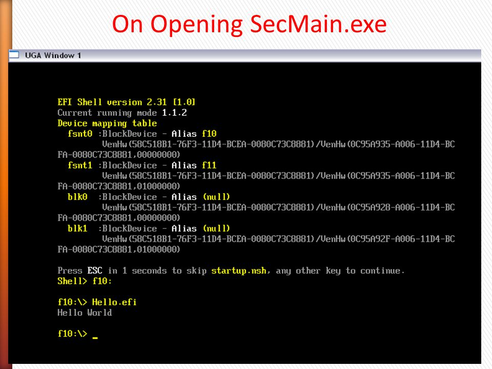 On Opening SecMain.exe
