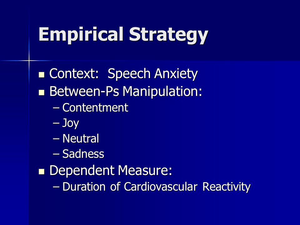 Empirical Strategy Context: Speech Anxiety Between-Ps Manipulation:
