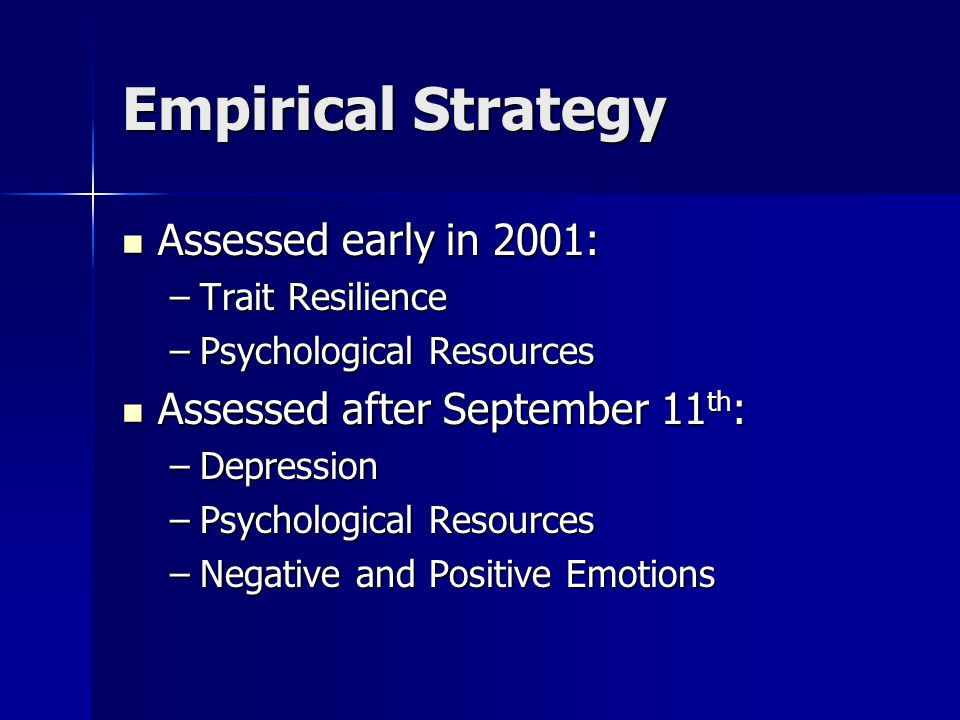 Empirical Strategy Assessed early in 2001: