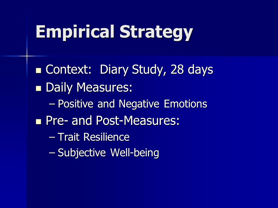 Empirical Strategy Context: Diary Study, 28 days Daily Measures: