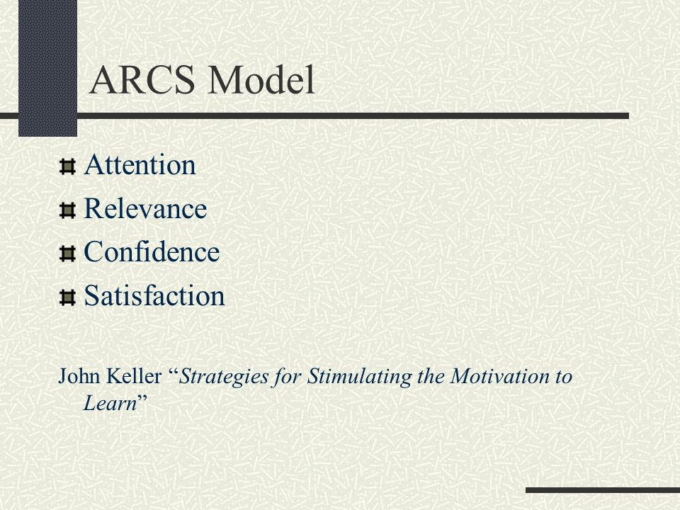 ARCS Model Attention Relevance Confidence Satisfaction