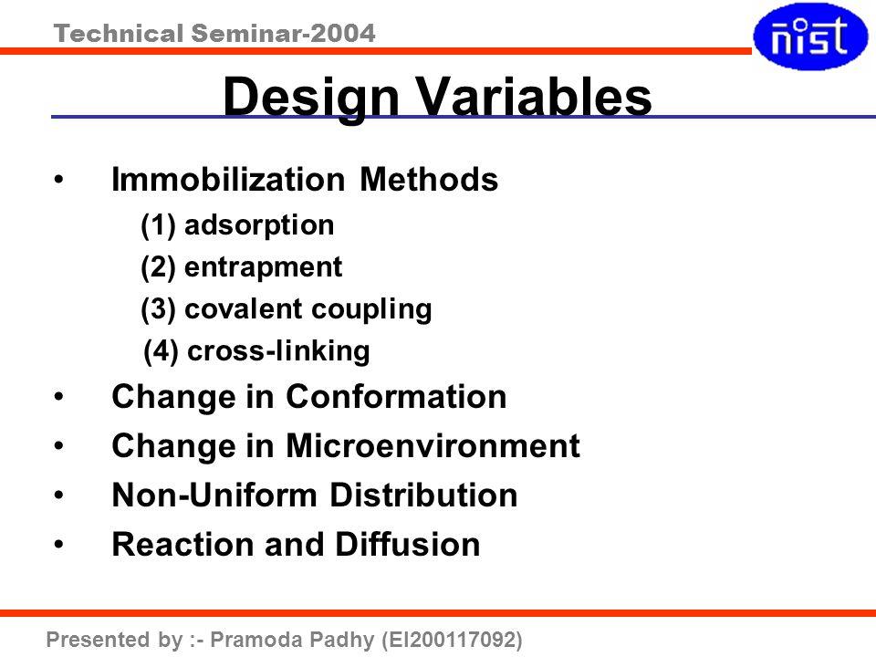 Design Variables Immobilization Methods Change in Conformation