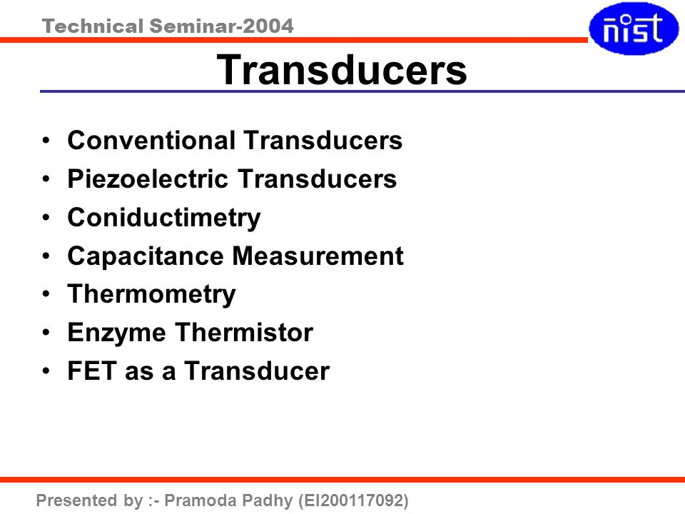 Transducers Conventional Transducers Piezoelectric Transducers