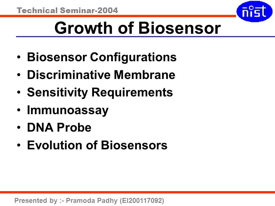 Growth of Biosensor Biosensor Configurations Discriminative Membrane