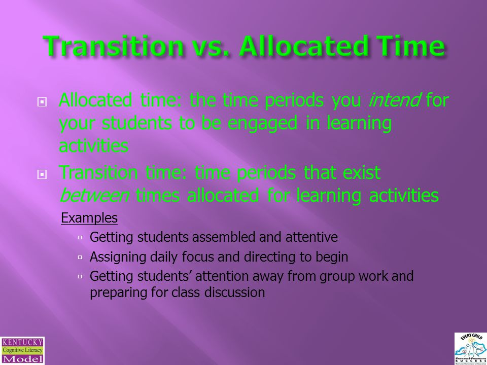 Transition vs. Allocated Time