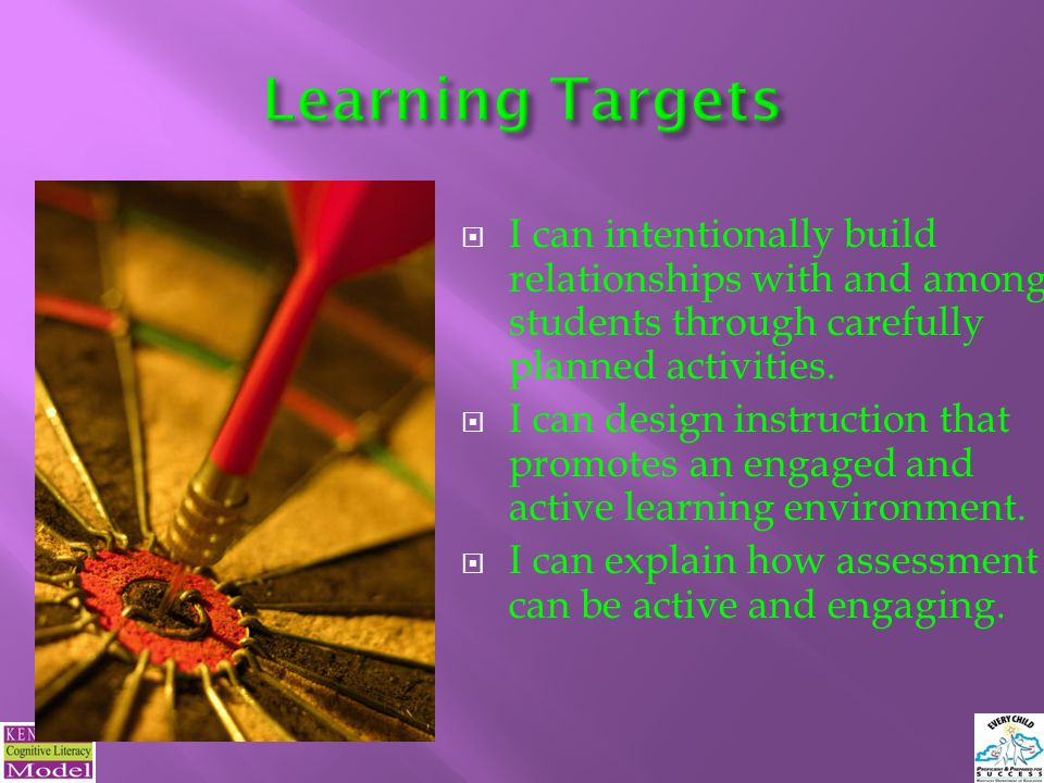 Learning Targets I can intentionally build relationships with and among students through carefully planned activities.