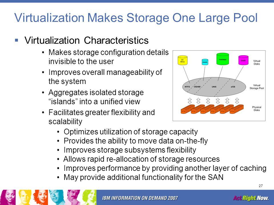 Virtualization Makes Storage One Large Pool