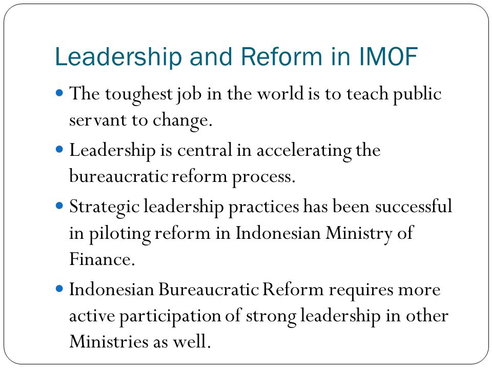 Leadership and Reform in IMOF