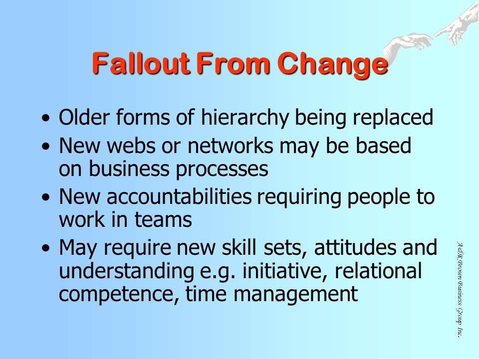 Fallout From Change Older forms of hierarchy being replaced