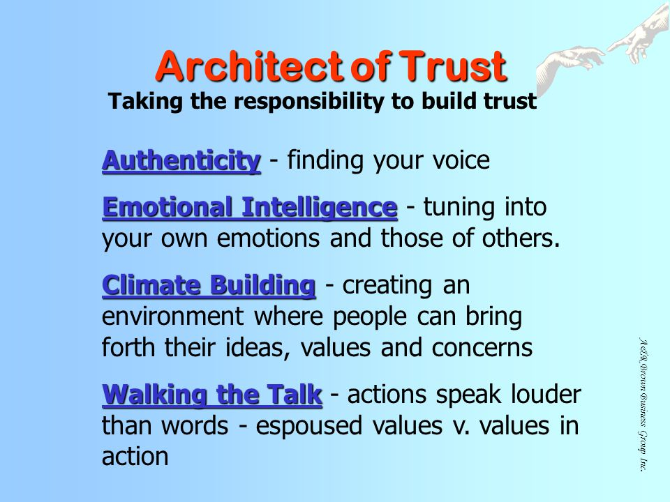 Taking the responsibility to build trust