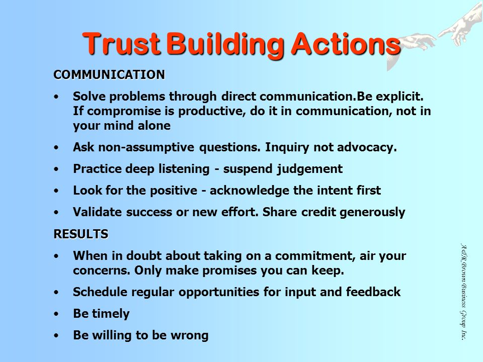 Trust Building Actions