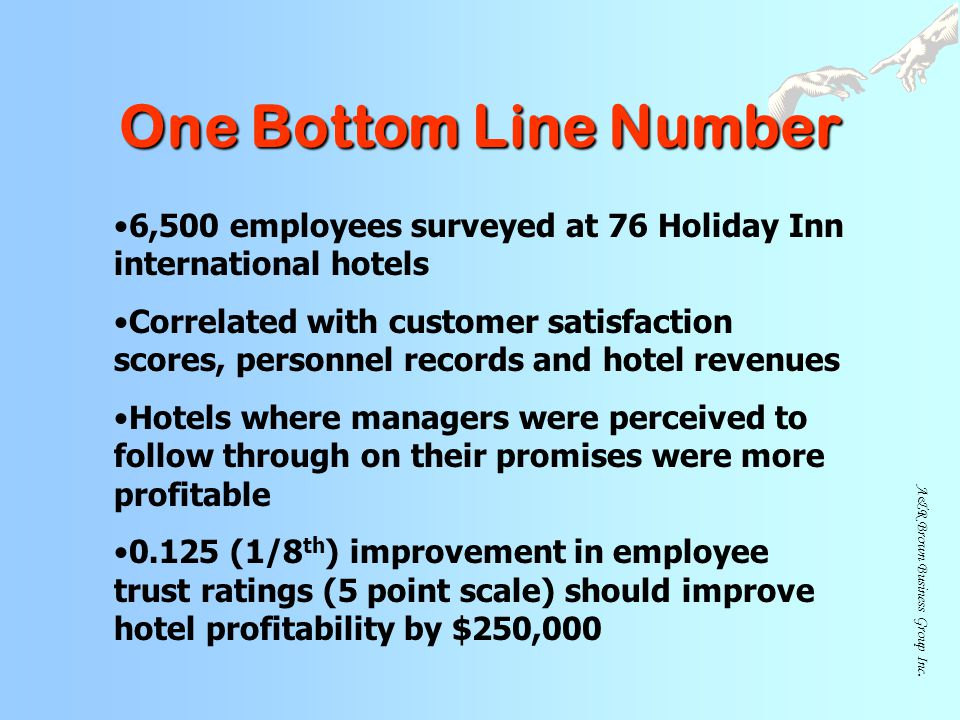 One Bottom Line Number 6,500 employees surveyed at 76 Holiday Inn international hotels.