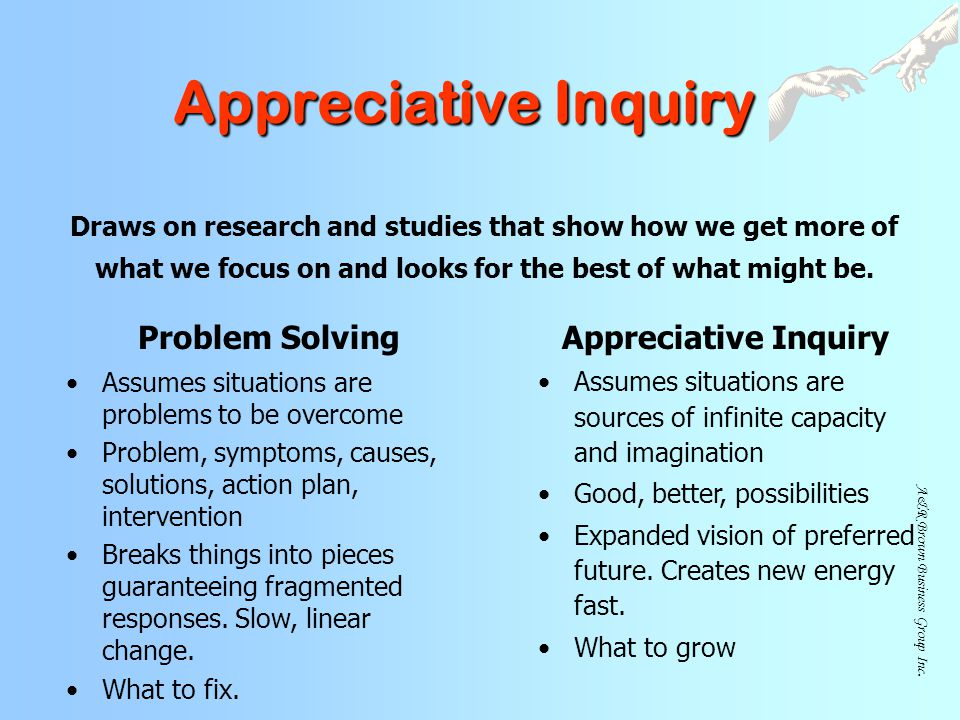 Appreciative Inquiry Problem Solving Appreciative Inquiry