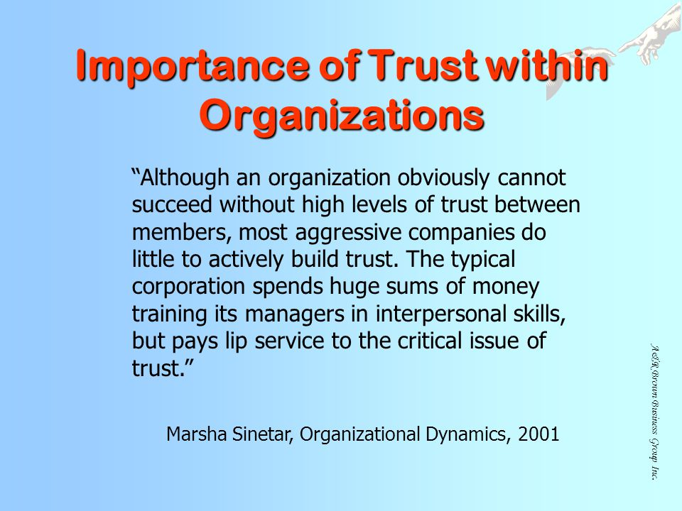 Importance of Trust within Organizations