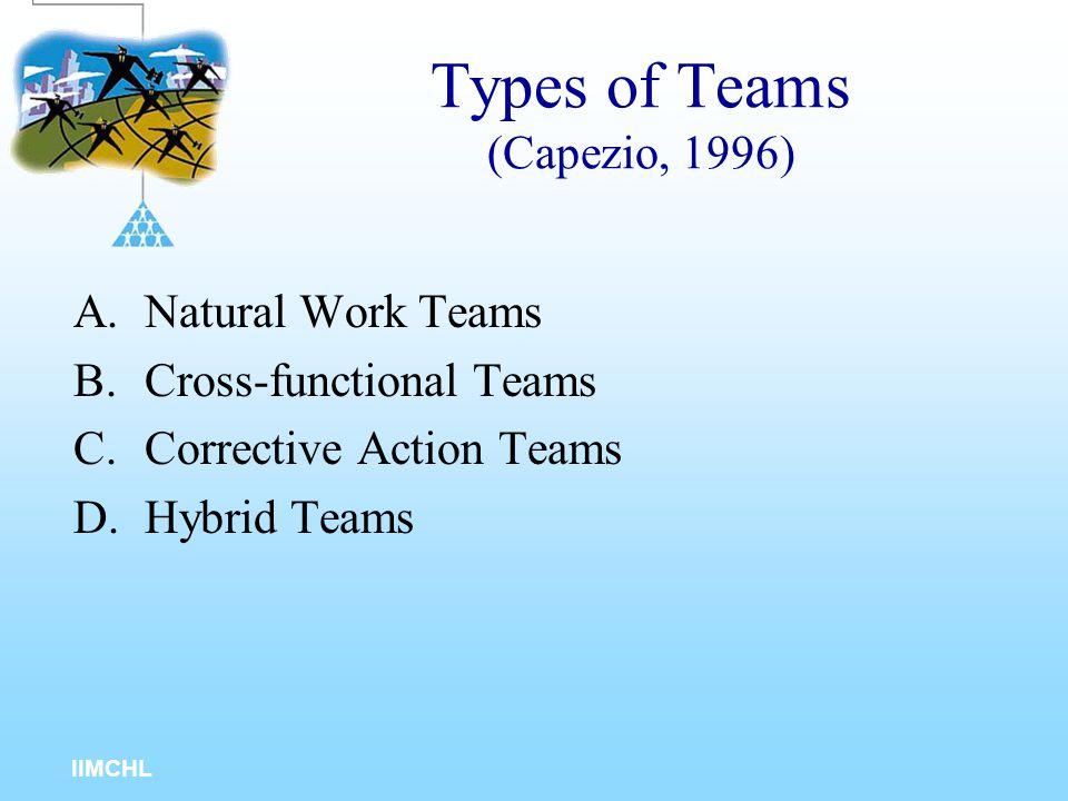 Types of Teams (Capezio, 1996)