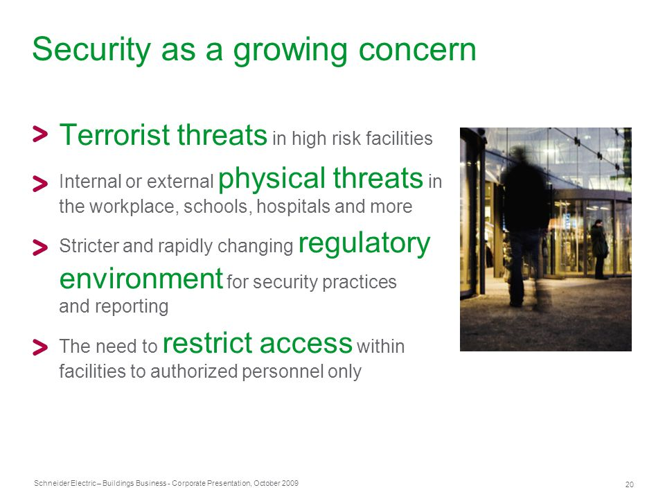 Security as a growing concern